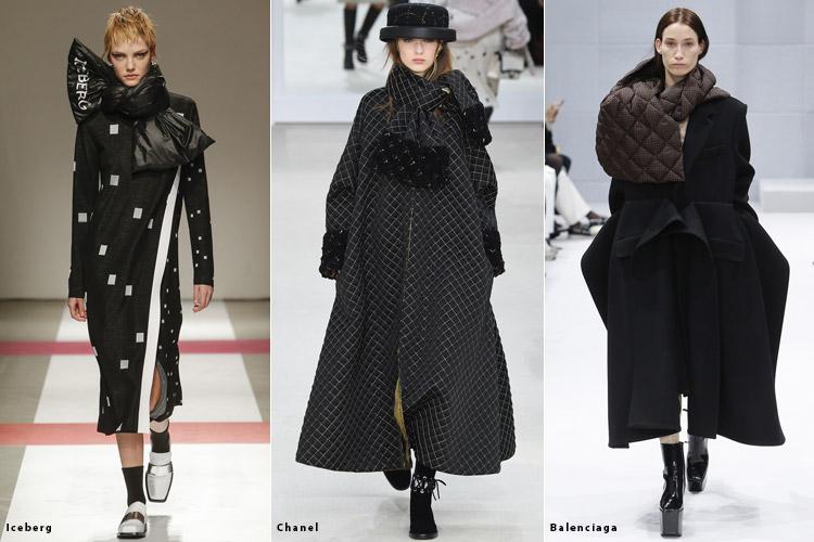 Модели с объемными шарфами - модные тенденции осень 2016, зима 2017