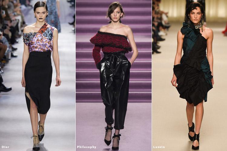 Модели в асимметричных нарядах - модные тенденции осень 2016, зима 2017