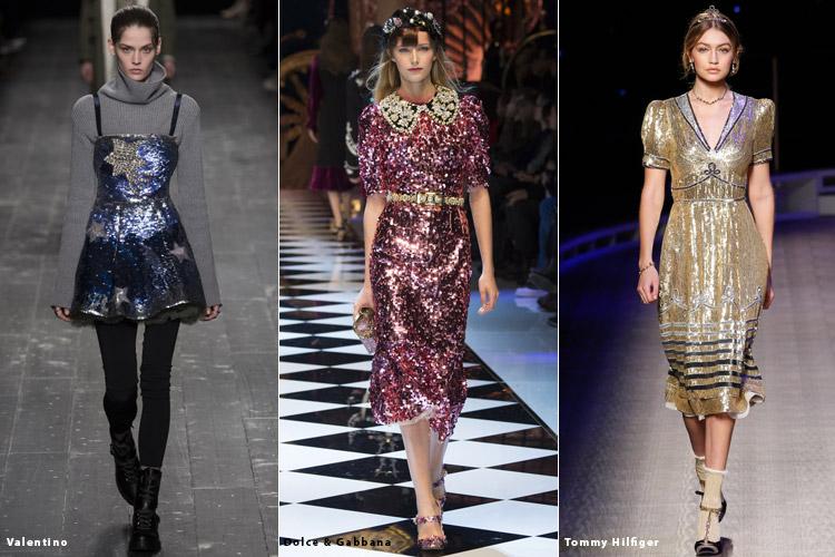 Модели в блестящих платьях - модные тенденции осень 2016, зима 2017