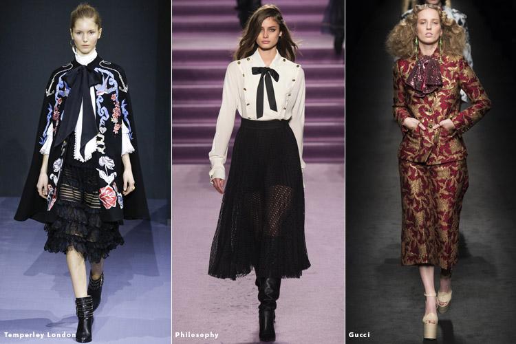 Модели в блузках с бантами - модные тенденции осень 2016, зима 2017