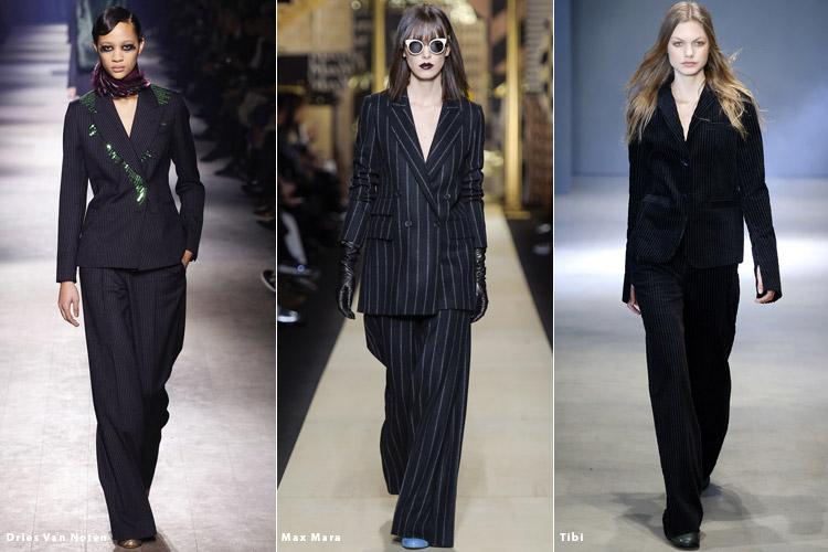 Модели в брючных костюмах в полоску - модные тенденции осень 2016, зима 2017
