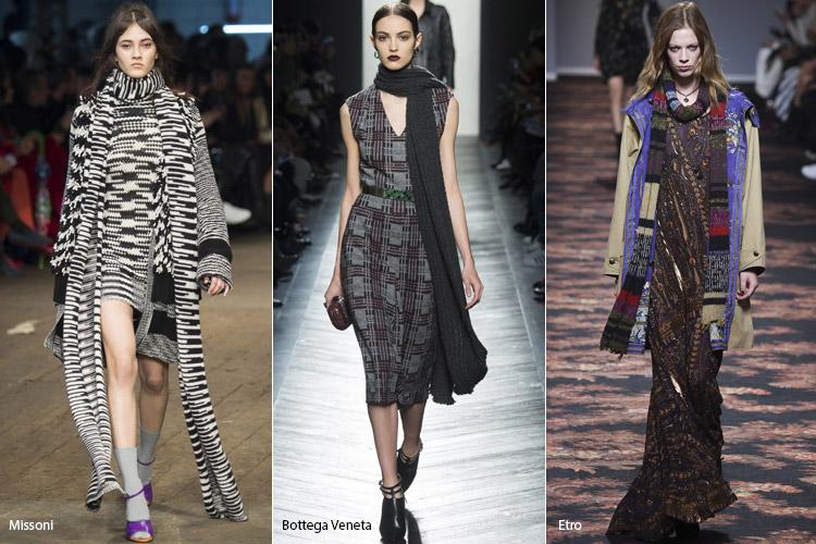 Модели в длинных-вязанных шарфах
