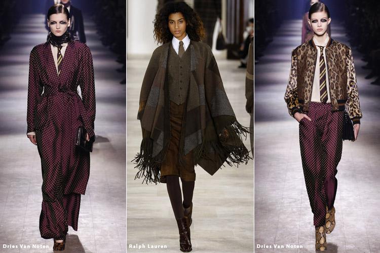 Модели в галстуках - модные тенденции осень 2016, зима 2017