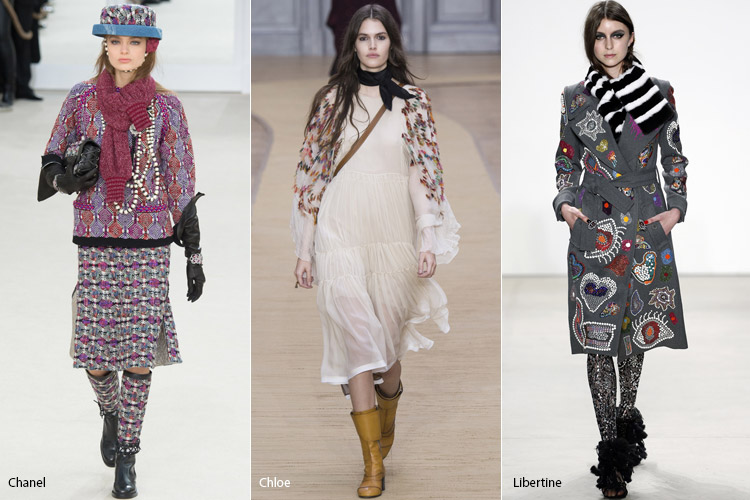 Модели в коротких шарфах
