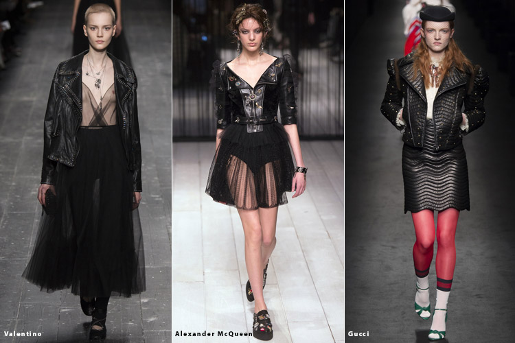 Модели в кожаных куртках - модные тенденции осень 2016, зима 2017