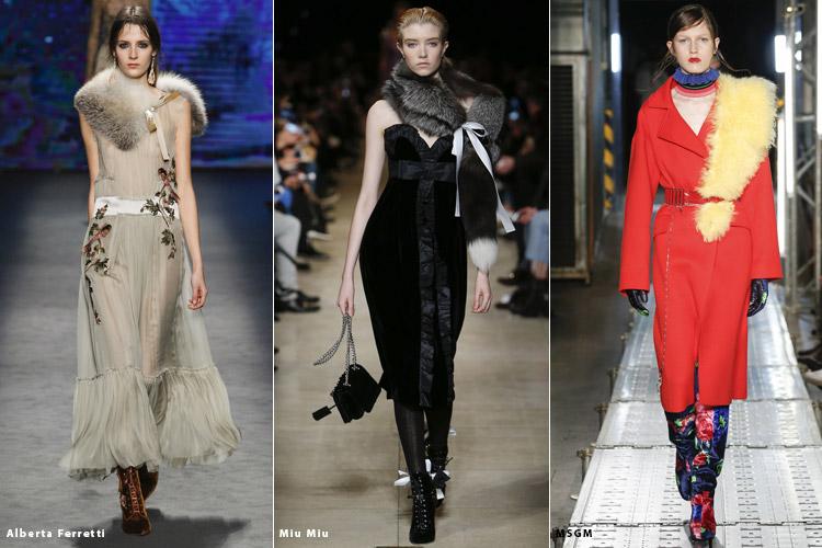 Модели в меховых воротниках - модные тенденции осень 2016, зима 2017