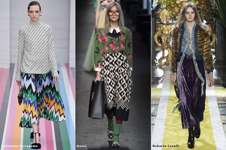 Модели в миди юбках - модные тенденции осень 2016, зима 2017