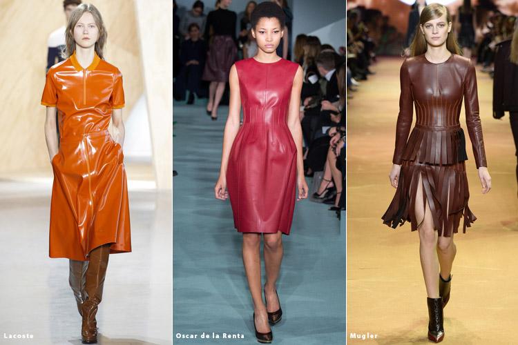 Модели в нарядах из кожи - модные тенденции осень 2016, зима 2017