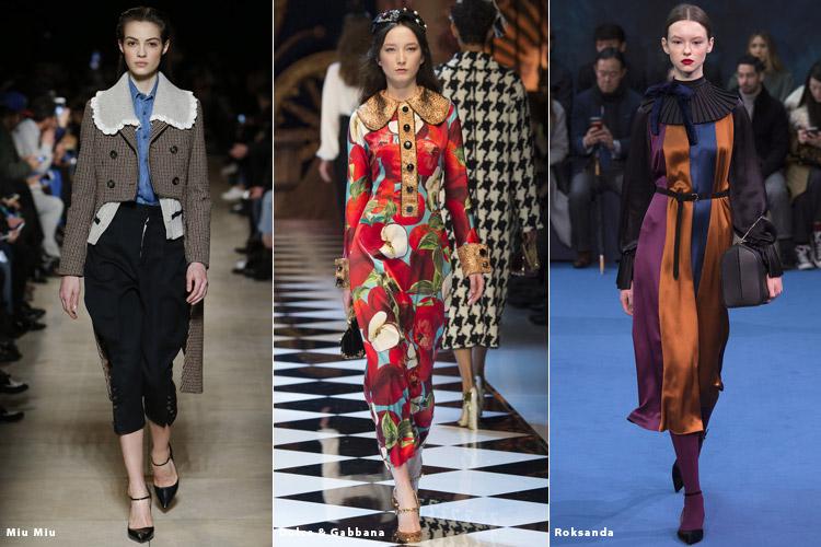 Модели в нарядах с большими воротниками - модные тенденции осень 2016, зима 2017