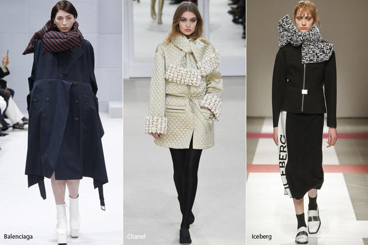 Модели в объемных шарфах