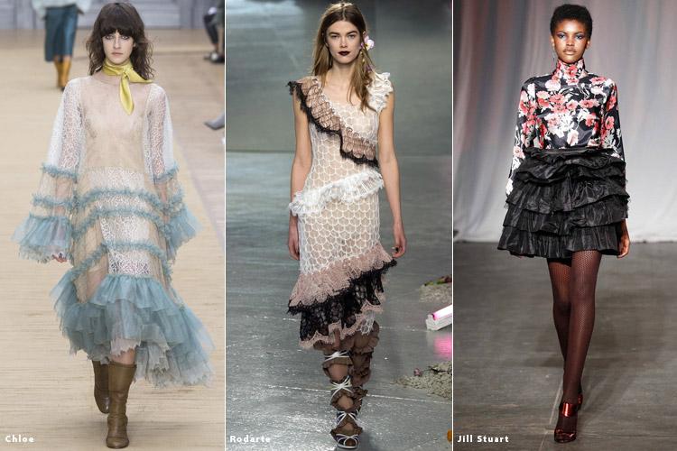 Модели в платьях с оборками - модные тенденции осень 2016, зима 2017