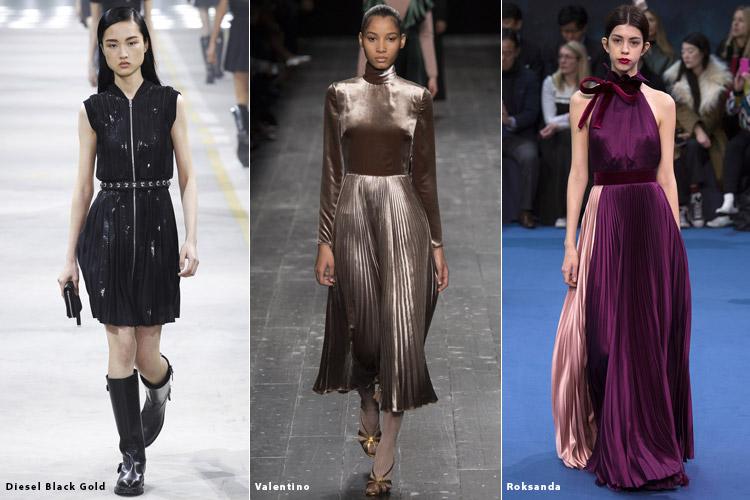 Модели в плиссированных юбках - модные тенденции осень 2016, зима 2017