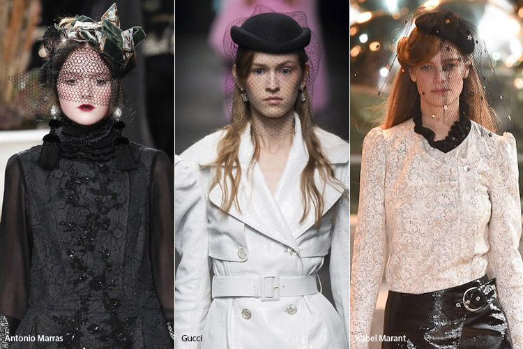 Модели в шляпках с вуалью
