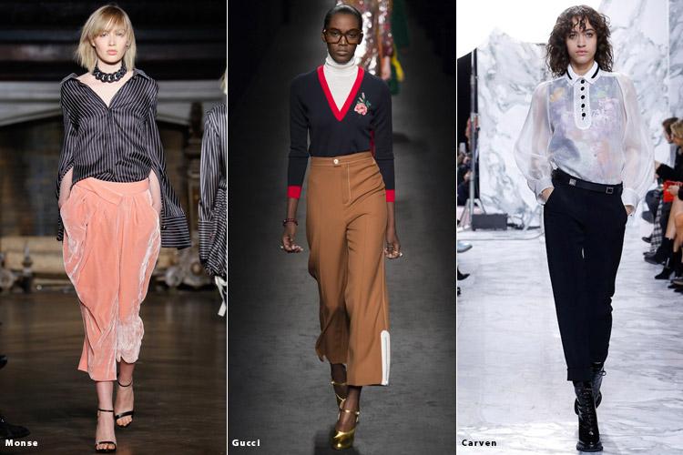 Модели в укороченных брюках - модные тенденции осень 2016, зима 2017