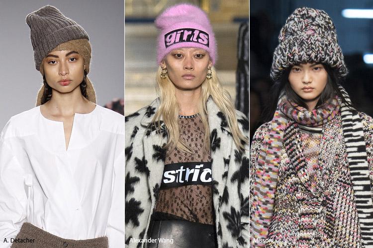 Модели в вязаных шапках