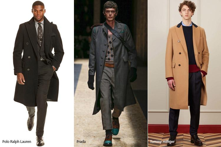 Мужчины в пальто в классическом стиле ниже колен