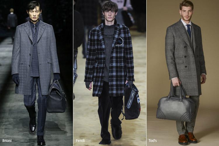 Мужчины в пальто в клетку выше колен