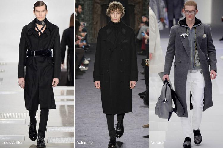 Мужчины в темных пальто ниже колен
