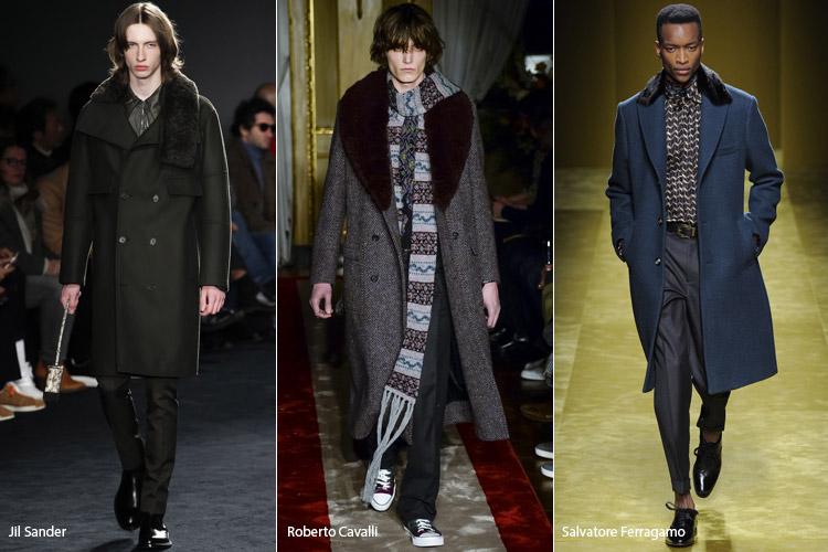Мужчины в темных пальто с меховым воротником
