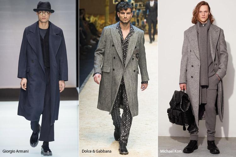 Парни в пальто с воротником ниже колен