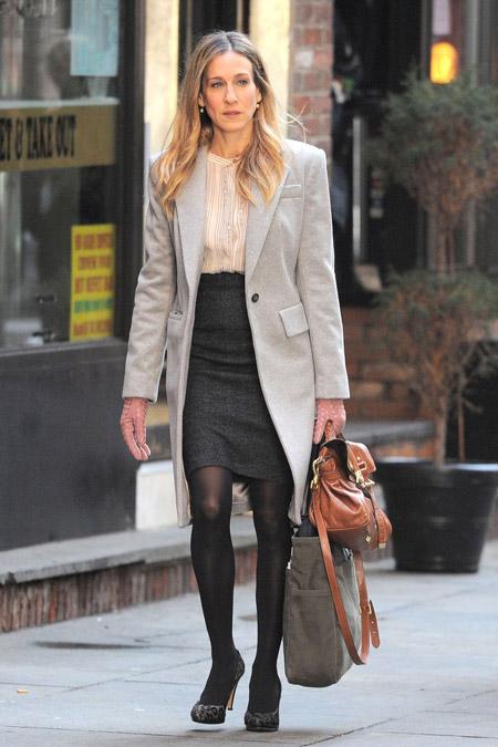 Сара Джессика Паркер в светлом пальто