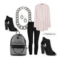 Cовременный образ рюкзак розовая блузка босоножки