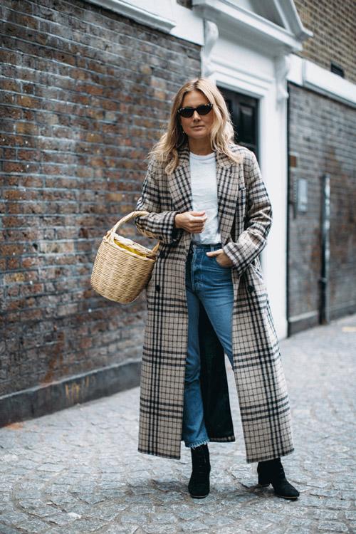 Девушка в клетчатом пальто, джинсах с необработанными краями и ботильонах