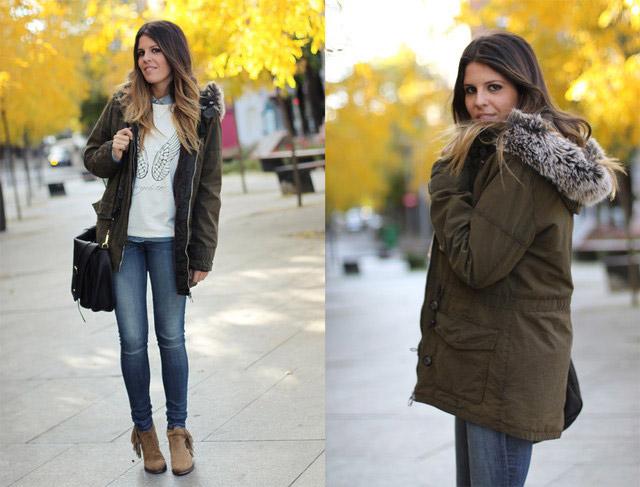 Девушка в узких джинсах и парке