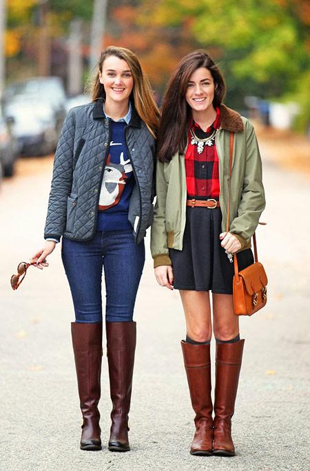 Две модели в осенних нарядах