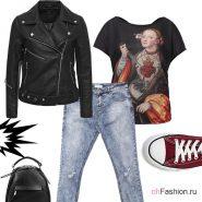 Лук с бордовыми конверсами, джинсами и черной косухой