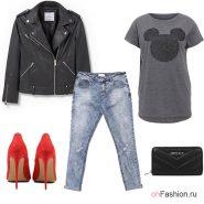 Лук с черной косухой, джинсами и красными туфлями на шпильке