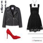 Лук с черным кружевным платьем, красными туфлями и курткой косухой