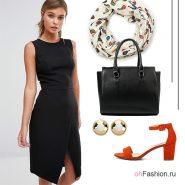 Лук с черным платьем, красными босоножками и аксессуары