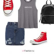 Лук с красными кедами, джинсовой юбкой и майкой