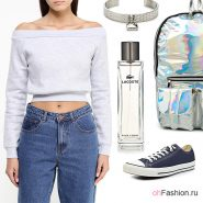 Лук с серым свитшотом, джинсами и кедами