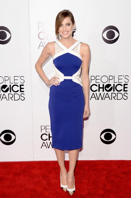 Эллисон Уильямс в сине-белом платье и лабутенах