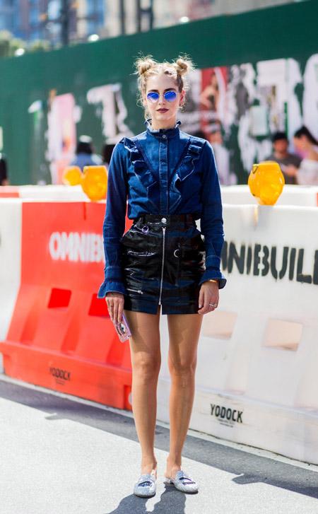 Кьяра Ферраньи - уличная мода Нью-Йорка весна/лето 2017