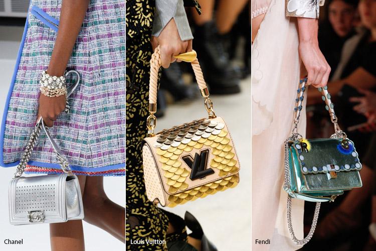Блестящие сумки металлических оттенков - модные сумки весна/лето 2017