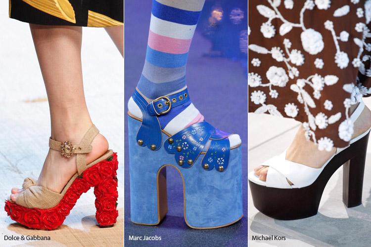 Босоножки на толстом каблуке и платформе - модная обувь весна/лето 2017