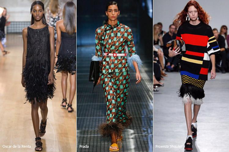 Модели в одежде с перьями - модные тенденции весна/лето 2017
