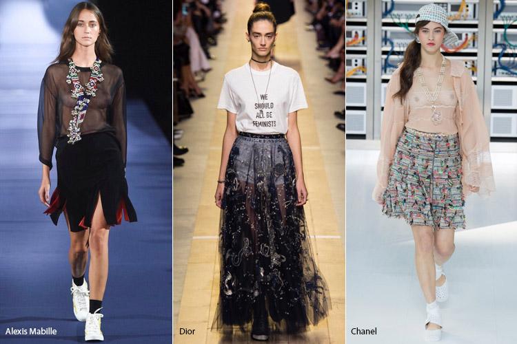 Модели в прозрачной юбке и топах - модные тенденции весна/лето 2017