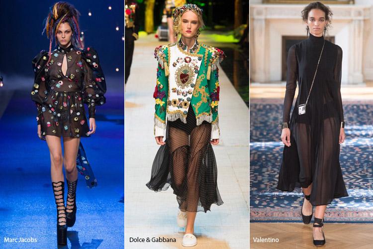 Модели в прозрачных платьях - модные тенденции весна/лето 2017