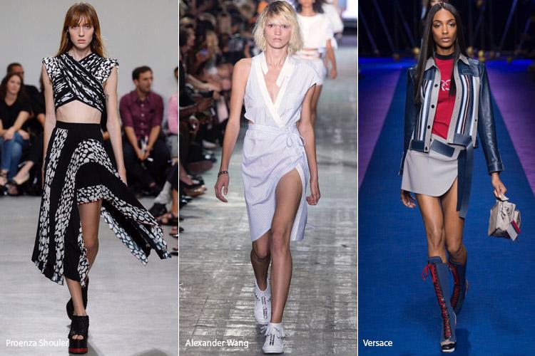 Модели в асимметричных юбках - модные тенденции весна/лето 2017
