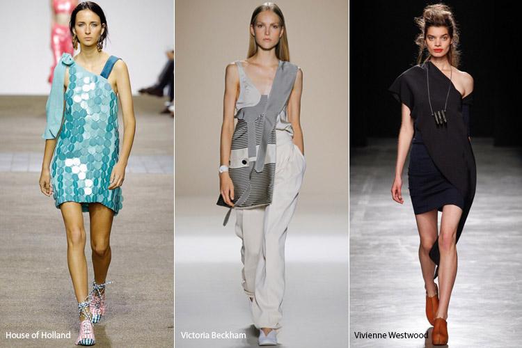 Модели в асимметричных платьях - модные тенденции весна/лето 2017