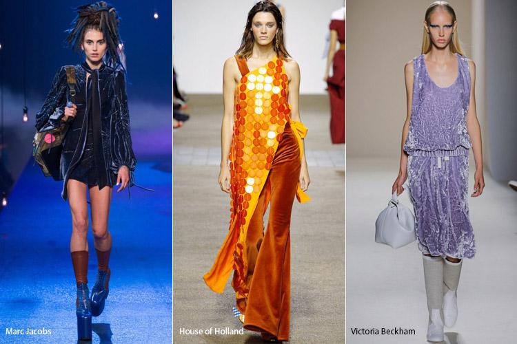 Модели в платьях из бархата - модные тенденции весна/лето 2017