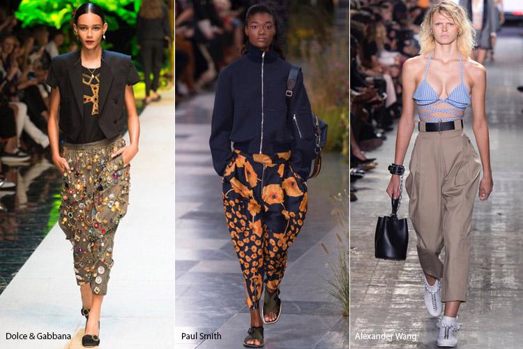 Модели в брюках бананах - модные тенденции весна/лето 2017