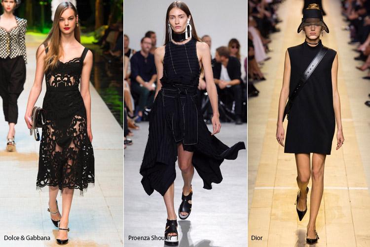 Модели в черном - модные тенденции весна/лето 2017