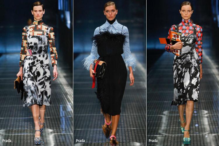 Модели в сарафанах надетых поверх водолазок и рубашки - модные тенденции весна/лето 2017