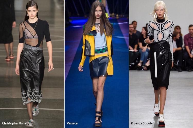 Модели в кожаных юбках - модные тенденции весна/лето 2017