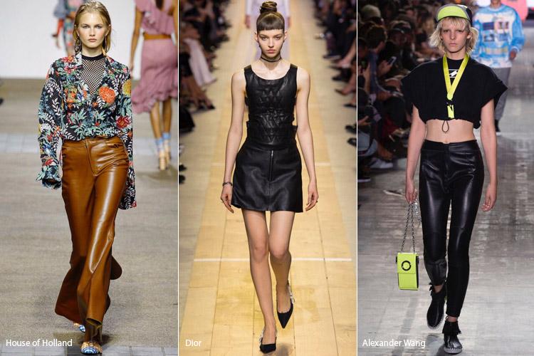 Модели в кожаных брюках - модные тенденции весна/лето 2017